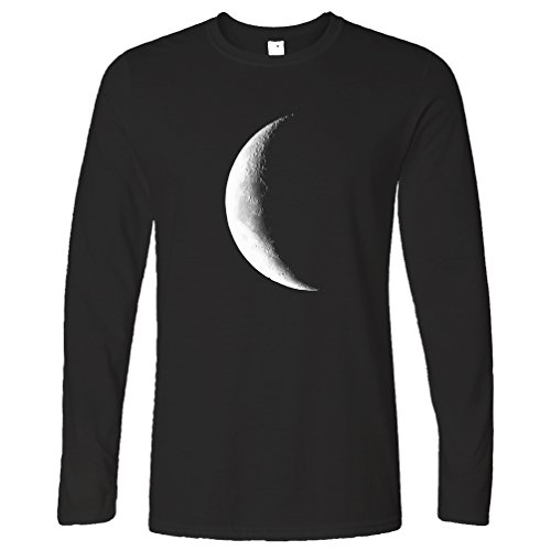 Tim And Ted Half Moon Galaxy Space Crescent Lunar Stars Astronomy Warning Phase Moonlight Daydream Moonshine Long Sleeve T-Shirt Cool Funny Gift Present