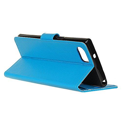 Klassische Litschi Textur PU Leder Schutzhülle Horizontale Folio Flip Stand Case Cover mit Kartensteckplätzen für BlackBerry DTEK70 ( Color : Purple ) Blue