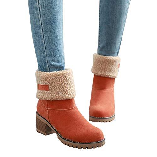 Stiefel Damen Boots Winterschuhe Flock Warme Stiefel Schneeschuhe Kurze Stiefelette Pump Stiefel Freizeitschuhe Winterstiefel Blockabsatz Stiefel ABsoar