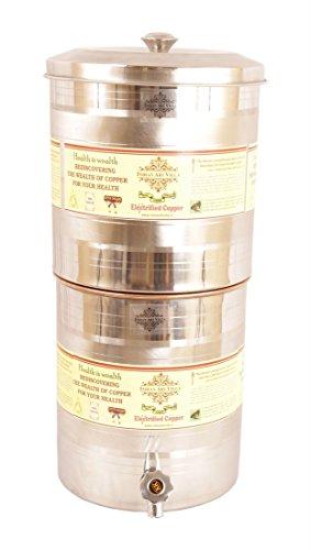 indianartvilla-acero-cobre-depsito-de-agua-contenedor-pot-con-filtro-15000ml-para-almacenamiento-de-