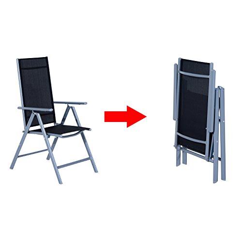 Outsunny Set Mobili da Giardino Tavolo con 6 Sedie Pieghevoli in Alluminio e Tessuto di Textilene - 6