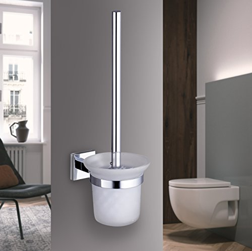 Auralum® porta scopino nero wc cromato set con vetro smerigliato, scovolino bagno