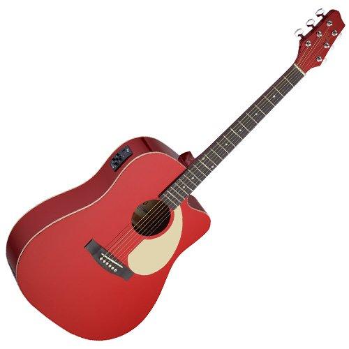Stagg 25020850 SA30DCE-RA Dread Cutway Electric Akustik Gitarre rot