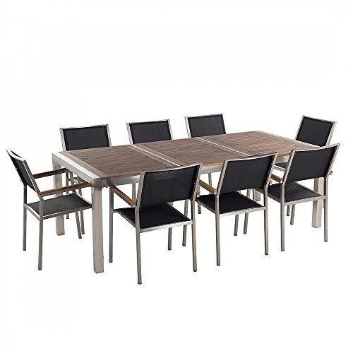 Gartenmöbel - Edelstahltisch mit Holzplatte 220cm dreifach mit 8 x Stühle mit Textilsitzfläche - GROSSETO