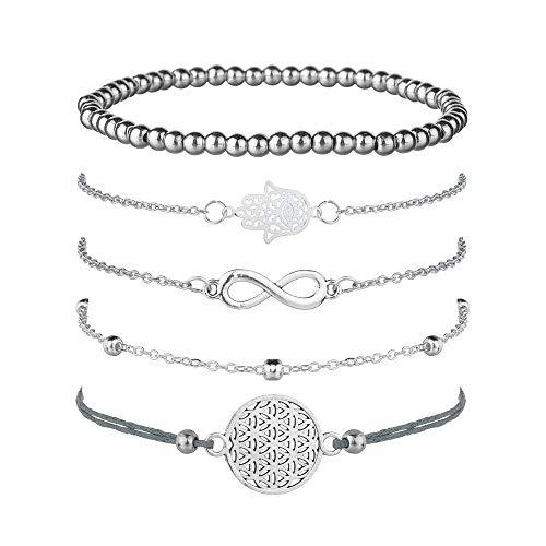 Damen Armband 5PCS silber Armbänder Schmuck Set, Infinity Armkette Kugelarmband Armband Verstellbar Charm Seil Armkettchen Böhmen Armband