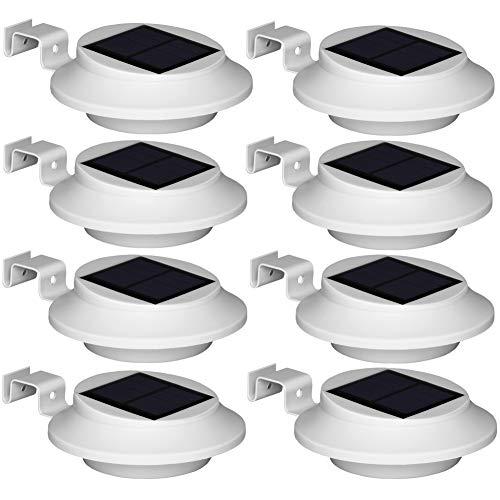 8 Stück Upgrade 6 LED Weiße Solarleuchten, Kaltweiß Licht Solarlampe Garten für Haus, Zaun, Garten, Garage und Gehweg Beleuchtung