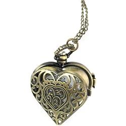 Fashion Charm Bronze Heart Necklace Pendant Chain Quartz Pocket Watch Xmas Gift