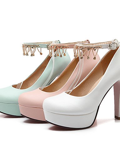 WSS 2016 Chaussures Femme-Bureau & Travail / Décontracté-Bleu / Rose / Blanc-Gros Talon-Talons / Bout Arrondi-Talons-Polyuréthane blue-us10.5 / eu42 / uk8.5 / cn43