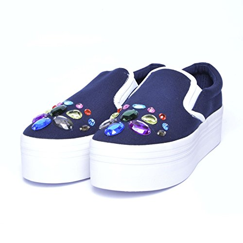 JEFFREY CAMPBELL - JC PLAY ICE002 CANVAS - NAVY W Blue