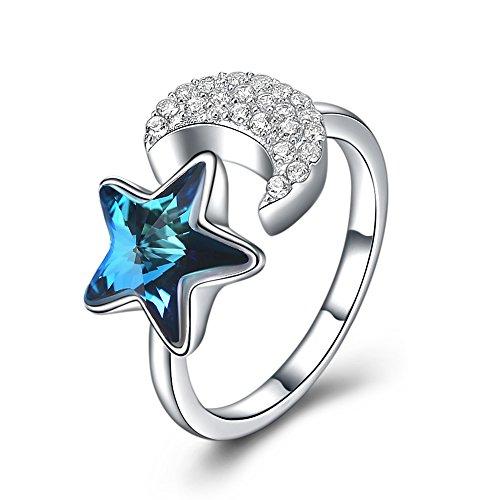 Stern Und Mond Ring Mode S925 Sterling Silber Blau Österreichischen Kristall Zirkon Verstellbare Platin Ring Für Frauen Mädchen Größe 5-7