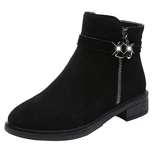 Fenverk Damen Stiefeletten Worker Boots Mit Blockabsatz Metallic Profilsohle GefüTtert Schneestiefel Bequeme Schuhe Outdoor Sneaker Stiefel(Schwarz,37/37.5EU)