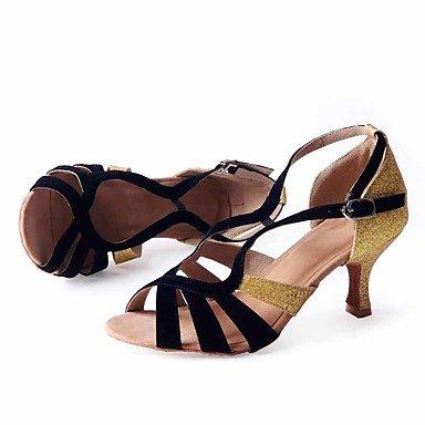 Scarpe da ballo-Personalizzabile-Da donna-Balli latino-americani / Salsa-Basso-Velluto / Brillantini-Nero Black/Gold