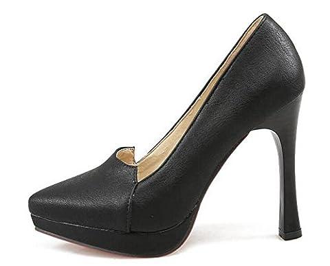 OL Pompes Scarpin Stiletto High Heel Peep-Toe Platform Femmes Work Casual Shoes Europe Taille Taille Large 34-43 , black , 34