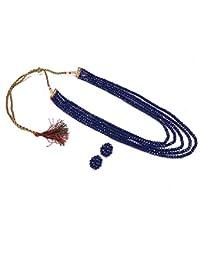karatcart Royal Blue Crystal Beads Multi-Strand Necklace Set for Women