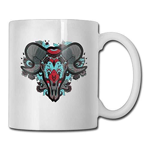 DHIHAS Strong Stability Durable Kaffeebecher Novelty Birthday Horde Ram Head Ceramic Tea Cup -