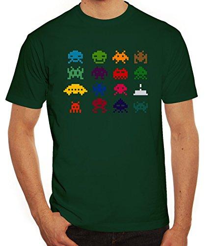 Nerd Herren T-Shirt mit Retro Pixels Motiv von ShirtStreet Dunkelgrün