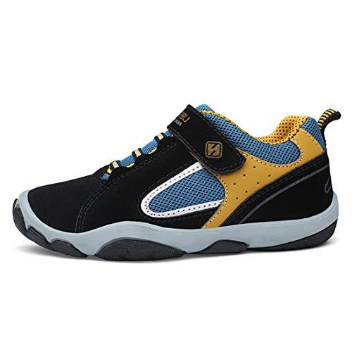 Unpowlink Kinder Schuhe Sportschuhe Ultraleicht Atmungsaktiv Turnschuhe Klettverschluss Low-Top Sneakers Laufen Schuhe Laufschuhe für Mädchen Jungen 28-37 (35 EU, Schwarz)