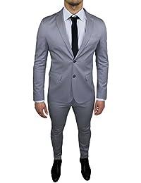 Abito Uomo Sartoriale Grigio Chiaro Completo Vestito Slim Fit Made in Italy  Cotone Elegante e da dcc66205677
