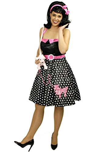 Karneval Klamotten Kostüm Rock und Roll Kleid Pudel Dame Karneval 70er Jahre Kostüm Damenkostüm Größe (Röcke Pudel Für Erwachsene)