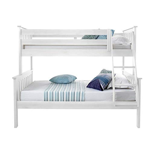 Happy Beds Atlantis White Finished Solid Pine Wooden Triple Sleeper Bunk Bed With 2x Luxury Spring Mattress