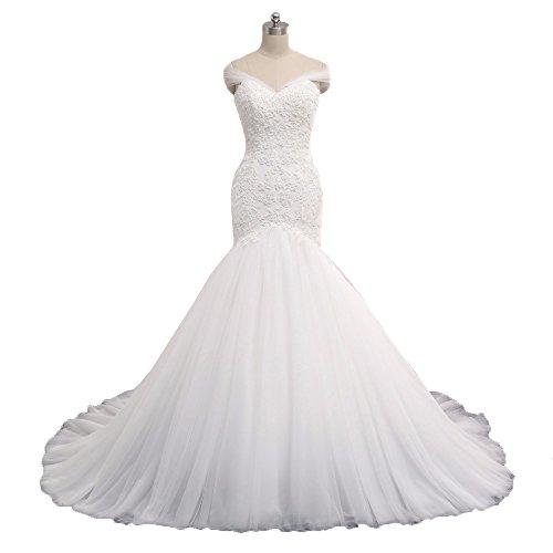 NUOJIA Lange Meerjungfrau Hochzeitskleider Tüll Spitze Weiß Elfenbein Brautkleid 2017 Weiß 50 (Günstige Cinderella Brautkleider)