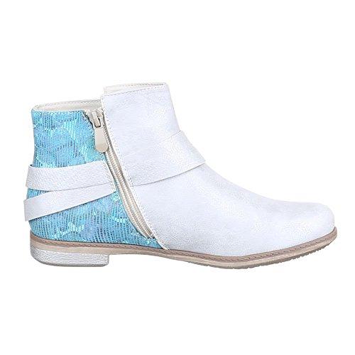 Ital-Design , Bottes Chelsea femme Silber Blau