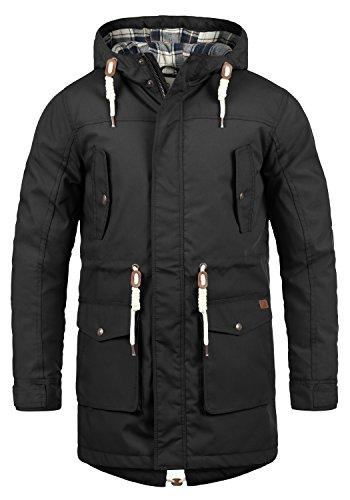 !Solid Chara Herren Winter Jacke Parka Mantel Lange Winterjacke gefüttert mit Kapuze, Größe:M, Farbe:Black (9000)