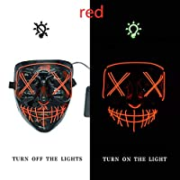 BFMBCHDJ LED Mask Light Halloween Neon Mask Glowing in The Dark Mask Party Mascara Horror Mascara Horror Mask Carnival Mask Red One Size