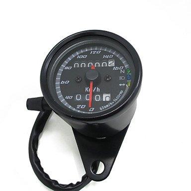 LISABOBO @ schwarz 12v Motorrad Roller Tacho Kilometerzähler Manometer 0-160km / h Motorrad Hintergrundbeleuchtung Dual-Geschwindigkeitsmesser mit