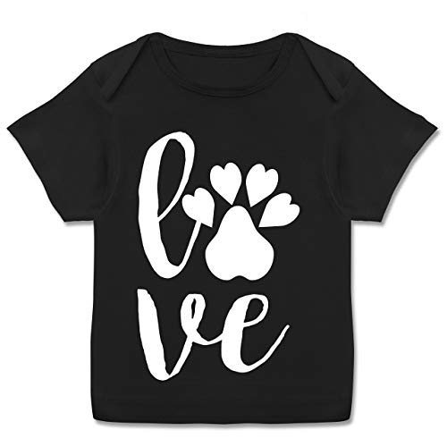 Tiermotive Baby - Tierliebe - 68-74 (9 Monate) - Schwarz - E110B - Kurzarm Baby-Shirt für Jungen und Mädchen in verschiedenen Farben