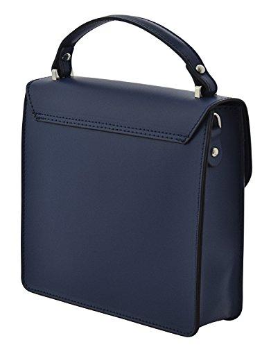 ADELE Borsa a Mano Borsa Spalla Vera Pelle Cuoio Donna Moda Made in Italy Blu