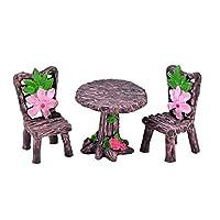 Vektenxi 3Pcs/Set Cute Table Chair Micro Landscape Ornament Fairy Garden Miniature Decor 4 Durable and Useful