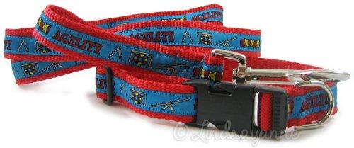 Dog Ink Agility Hund Halsband und Leine Set, Small, Rot/Blau -
