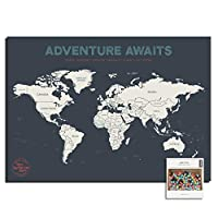 """Epic Adventure Maps Push Pin World Map 24"""" x 17"""" - Travel Map to Mark Your Travels Around The World - Multicolored Pushpins Included - Great Travel Gift"""