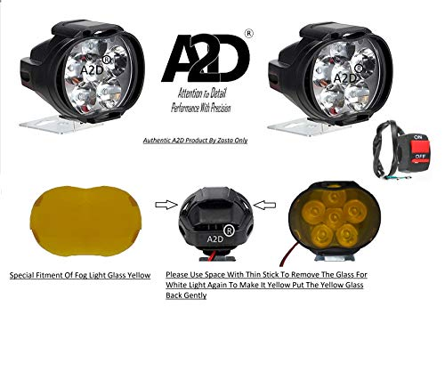 A2D® L3C 6 LED Transformer Bumble Bee Style Bike Fog Light Lamp Assembly White Mini with Switch Set of 2 for Mahindra Duro 125