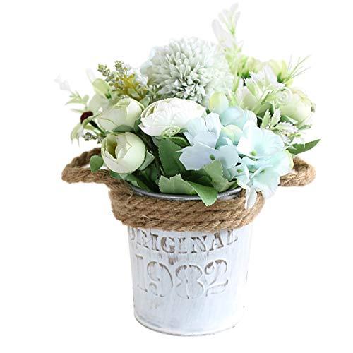 Ingrirt5Dulles 1 Stück Künstliche Blume Vintage Eisentopf Bonsai Bürogarten Desktop Party Decor Green