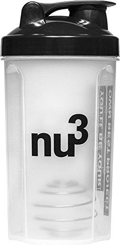 nu3 Shaker - Für Eiweiß/Protein-Shakes und andere Drinks mit Edelstahl-Federkugel - Blender und Bottle mit Dreh und Klappdeckelverschluss