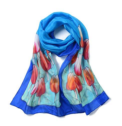 Invisible World Foulard Seta da Donna 100% Lunga Dipinta a Mano per Collo, Testa o Capelli - Tulipani su Sfondo Blu