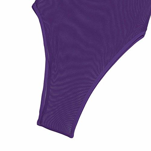 YiZYiF Transparent Body Bodysuit Dessous Damen Bikini Rückenfrei Tops Overalls Negligee Babydoll Reizwäsche Lingerie Dunkel Lila