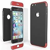 NALIA 360 Grad Handyhülle für Apple iPhone 6 / 6s, Full-Cover & Glas vorne hinten Rundum Hülle Doppel-Schutz Dünn Ganzkörper Hard-Case Etui Handy-Tasche Bumper & Displayschutz, Farbe:Rot Schwarz