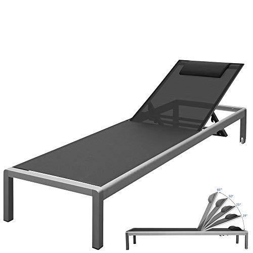 RS Trade \'Monaco XXL\' Outdoor Aluminium Sonnenliege (bis 160 kg belastbar) mit reißfester Textil Bespannung und 5-fach verstellbarer Lehne und Rollen, Alu Gartenliege inkl. Nackenrolle, Bezug: Schwarz