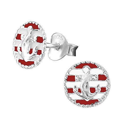 Laimons Damen-Ohrstecker Anker Platte glanz rot Sterling Silber 925 -