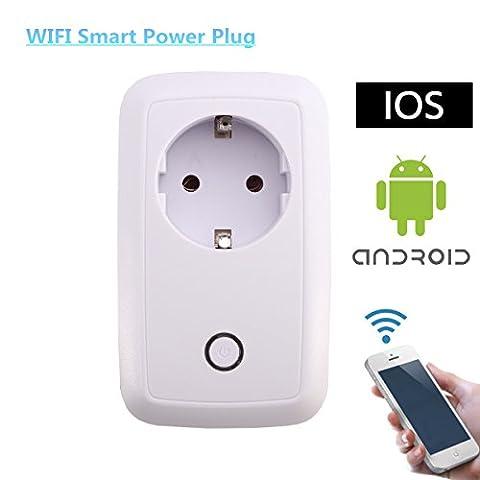 Intelligente Steckdose WLAN Steckdose MECO Smart Buchse mit Fernsteuerung inkl Zeitsteuerung Energiesparfunktion und USB Anschluss über Android/iOS-App Weiß