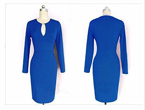 QIYUN.Z Manches Longues Col En V Profond Ventre Tenue Moulante Cocktail Robe Sexy Clubwear Bleu