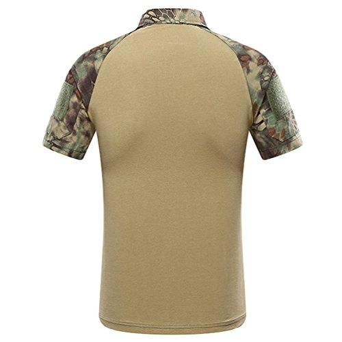 ZhiYuanAN Herren Militär Taktisches Shirt Mit Reißverschluss Sport Tarnkleidung Kurzes Ärmel Poloshirt Komfort Und Atmungsaktivität Camo Polohemd Grün Python