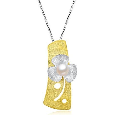 City Ouna® Argento 925 e collana in oro placcato per le donne le ragazze di fiori di perle ciondolo gioielli (oro e argento) - Nonna Bracciale Perle D'argento Bracciale Perle