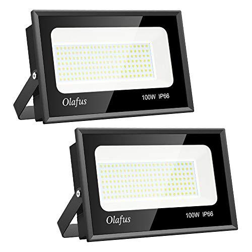 Olafus 2 Projecteurs LED Extérieur 100W, IP66 Etanche, 11000LM, Spot LED Extérieur Puissant, 5000K...