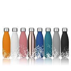 Idea Regalo - KING DO WAY Portatile Borraccia in Acciaio Termica Bottiglia d'Acqua Sportive 500ml per Mantenere Caldo e Freddo (Blu)