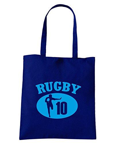 T-Shirtshock - Borsa Shopping TRUG0081 flyhalves play rugby logo Blu Navy