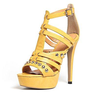 zhENfu Donna Sandali scarpe formali similpelle Summer Party & abito da sera scarpe formali rivetto fibbia Stiletto Heel Giallo Beige 4A-4 3/4in Yellow